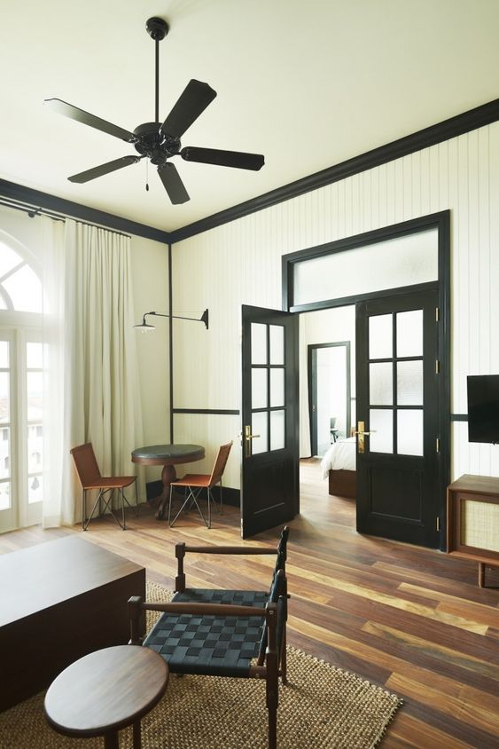 Trim in dark contrast to walls. Ace Hotel in Panama City