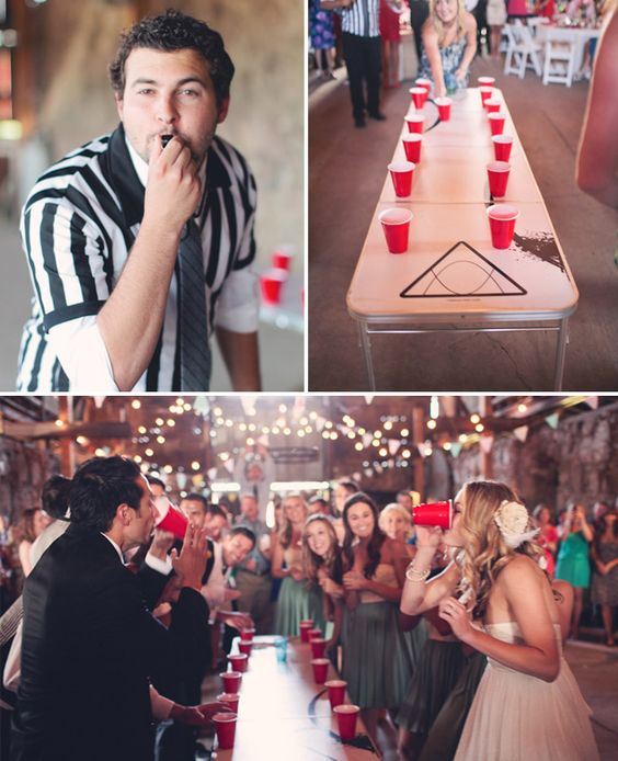 Bridesmaids vs. groomsmen flip cup/beer pong tournament...maybe rehearsal or later in the night?
