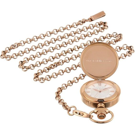 Ted Baker Time Flies Rose Gold Charm Watch on Chain Watch ($53) ❤ liked on Polyvore featuring jewelry, watches, rose gold charms, roman numeral watches, lobster claw clasp charms, ted baker watches and charm watches