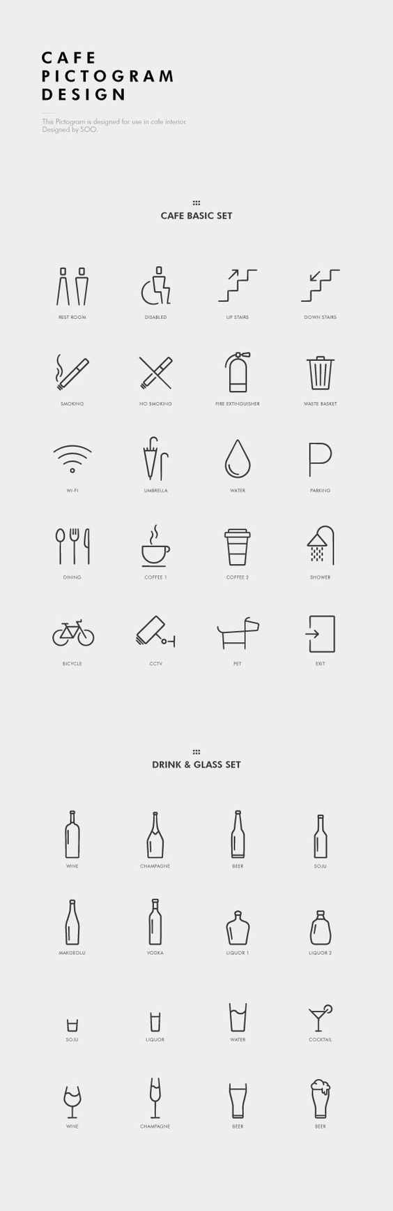 Cafe Pictogram Design by soo, via Behance: