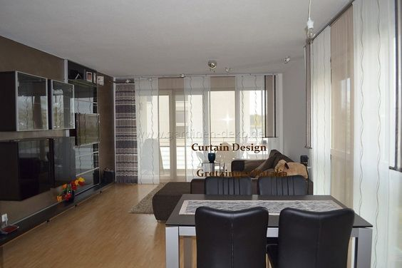 Langer Wohnzimmer Schiebevorhang in Braun -    wwwgardinen - wohnzimmer schwarz weis beige