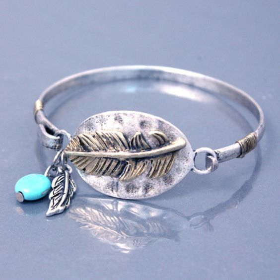 Antique Feather Bangle Bracelet