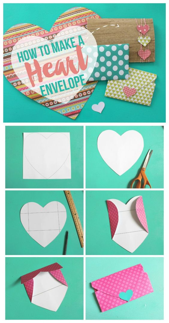 how to make a heart shaped envelope--perfect for Valentines day!