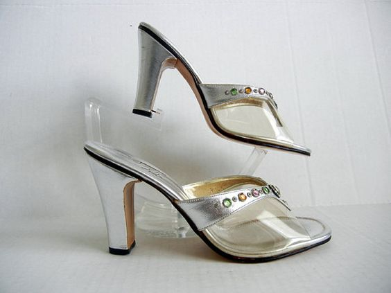 1960s shoes / Vintage 60&39s Rhinestone jeweled silver high heels