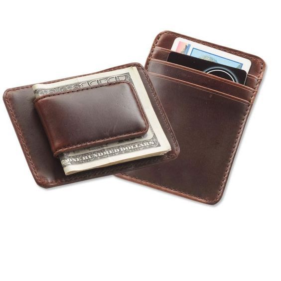 Leather Money Clip wallet with card Holder