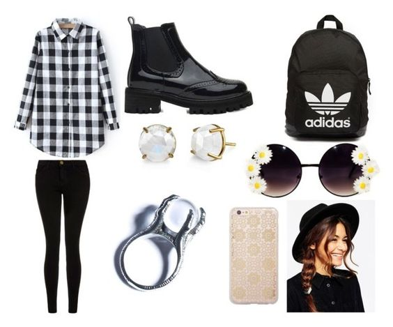 """""""School outfit ;)"""" by ceci-dii on Polyvore featuring mode, Current/Elliott, adidas Originals, ASOS, Sonix, Kill Star, women's clothing, women's fashion, women et female"""
