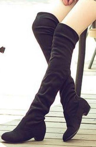 Women Faux Suede Stretch Over The Knee Thigh High Low Heels Boots