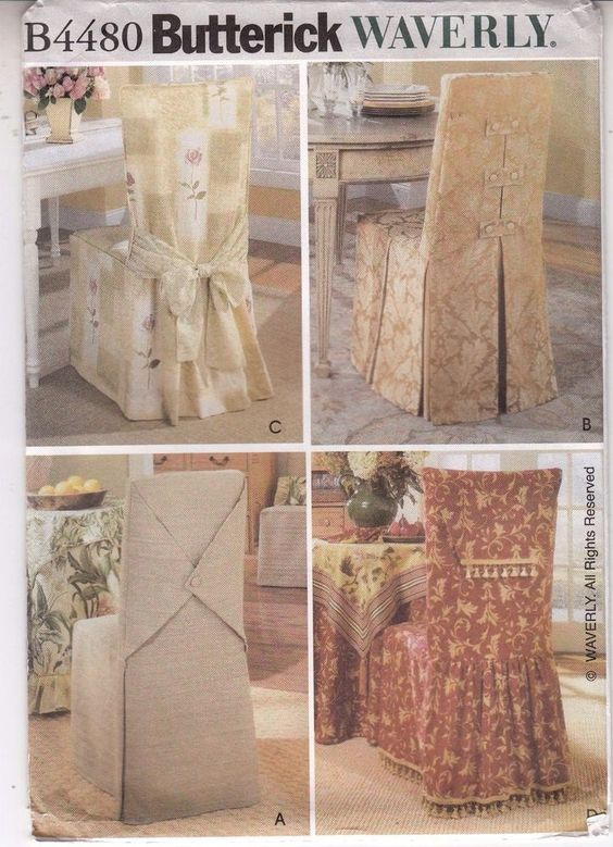 Chair Covers Waverly Home Decor Variations Butterick Sewing Pattern 4480  Uncut #Butterick4480 #Waverlychaircoverpattern