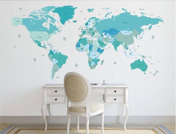 world map decal political world map wall decal country names map wall sticker removable. Black Bedroom Furniture Sets. Home Design Ideas