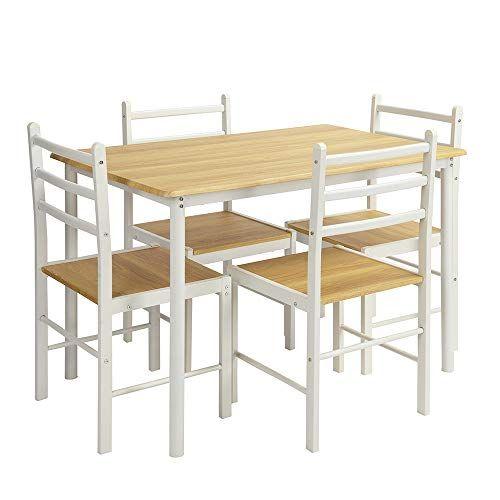 Furniturer Kitchen Dining Table Set 5 Pieces Wood Modern Metal Frame Table And Chair Set Desk For Dining Table In Kitchen Dining Table Setting Dining Room Sets