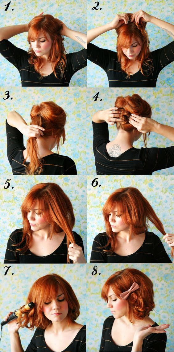 How to style long hair short.