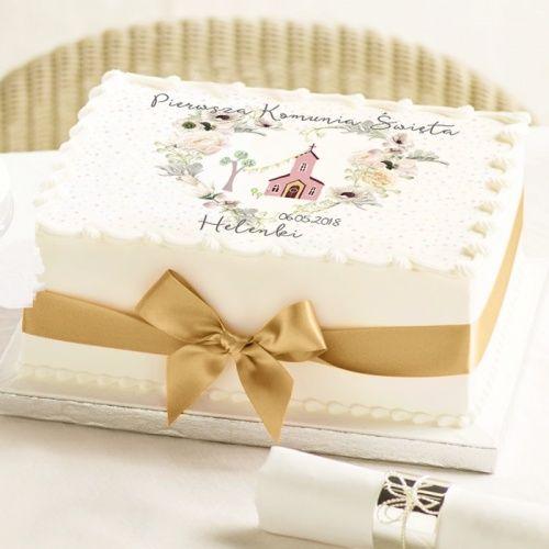 Oplatek Na Tort Komunijny Z Personalizacja 21cm X 30cm Sakramento Place Card Holders Decorative Boxes Anniversary