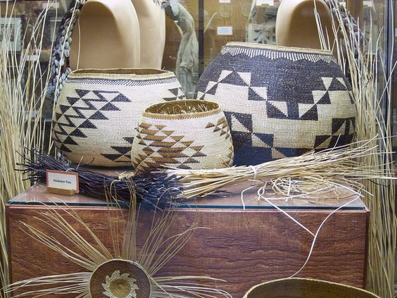 Yurok/Karuk baskets and materials, from the museum in Klamath, Ca
