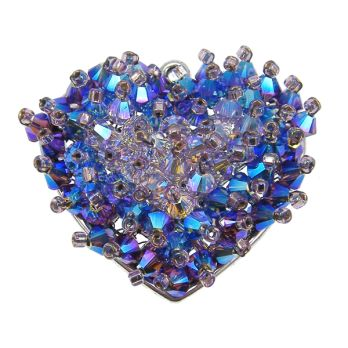 Swarovski Cluster Heart Pendant Kit - Midnight Blue