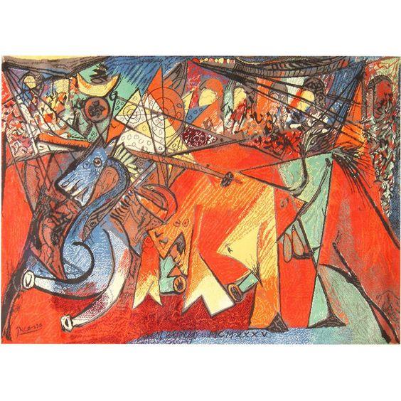 """Ege Art Line Rug: Ege Art Rug After Pablo Picasso, """"Running Of The Bulls"""