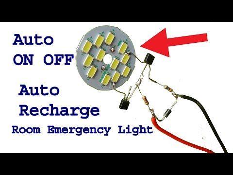 Make 12 Volt Auto On Off Rechargeable Room Emergency Led Light Diy Light Youtube Led Emergency Lights Led Lighting Diy Led Lamp Diy