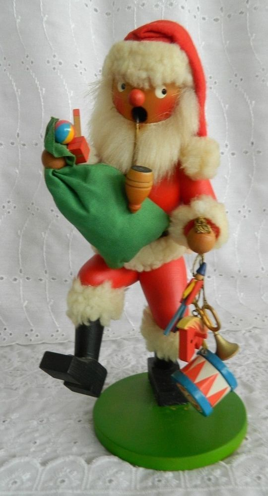 Vintage Holzkunst Christian Ulbricht Santa Pipe Smoker Christmas West Germany