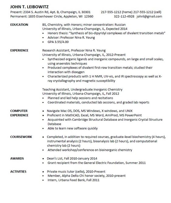 Entry Level Chemist Resume Sample -    resumesdesign entry - harvard resume format