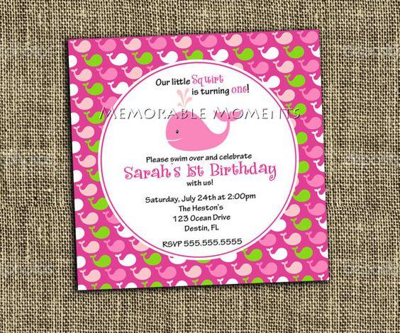 PRINTABLE INVITATION Little Squirt Pink by MemorableMomentsSt, $13.00