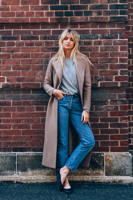 A trench coat, jumper and jeans make the perfect casual but stylish outfit!