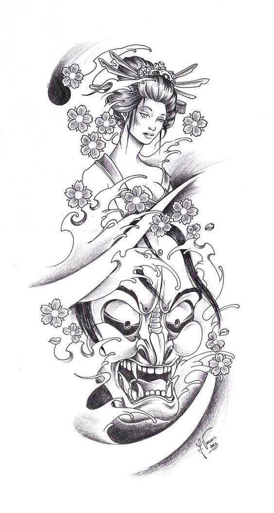 Tattoo Flash Line Drawing Converter : Tattoo geisha oni by kauniitaunia d t ydmjpg tattoos i