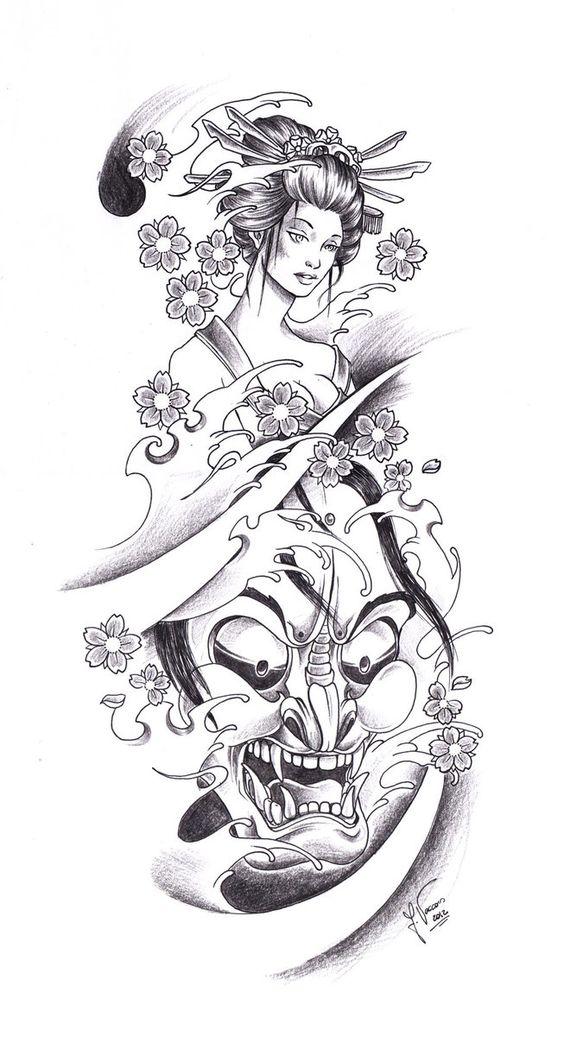 Tattoo Flash Line Drawing Converter : Tattoo geisha oni by kauniitaunia d t ydmjpg tattoos i