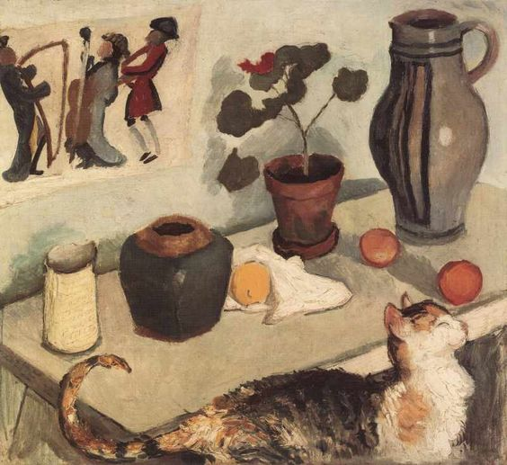 Stillleben mit Katze | | oil painting, 1910 | August Macke