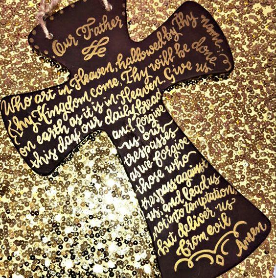 Our Father prayer in calligraphy- paint pen. Metallic gold paint one ..painted cross using brown paint.  #ourfather #sakura #sakuraofamerica #whoartinheaven #calligraphy #fauxcalligraphy #paintpen #gold #prayer #custom #diy #getcreative #designspiration #nationwidecalligrapher #nationwidecalligraphy #Calligraphybyjennifer: