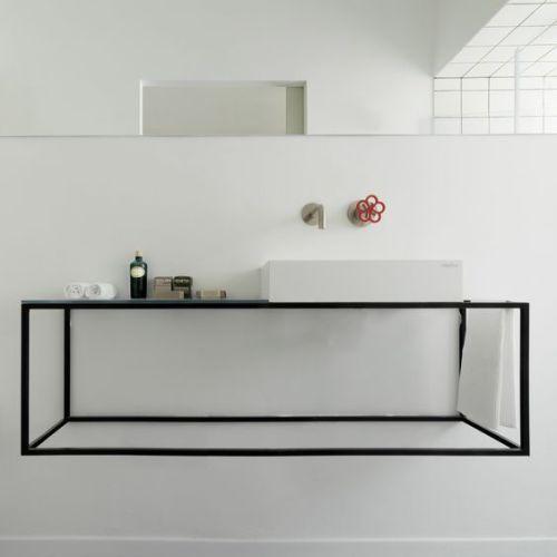 Nice Bathroom I Love The Black Frame Below The Basin