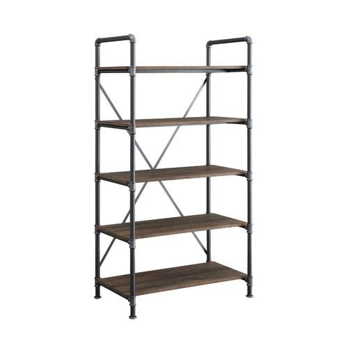 Whalen Distressed Brown Metal 5 Shelf Bookcase At Lowe S