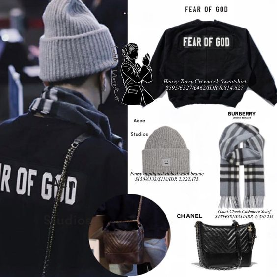 "Official SG&JN 's closet ® on Instagram: ""+bag : CHANEL Gabrielle hobo bag $450 Suga in @burberry , @fearofgod , @acnestudios @chanelofficial…"""