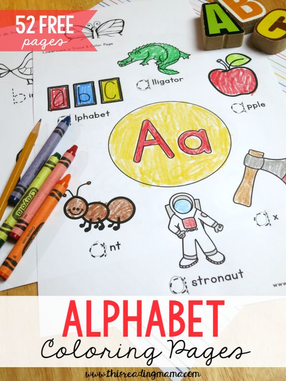 52 FREE Alphabet Coloring Pages for Upper and Lowercase Letters ~ great for handwriting, too!   This Reading Mama