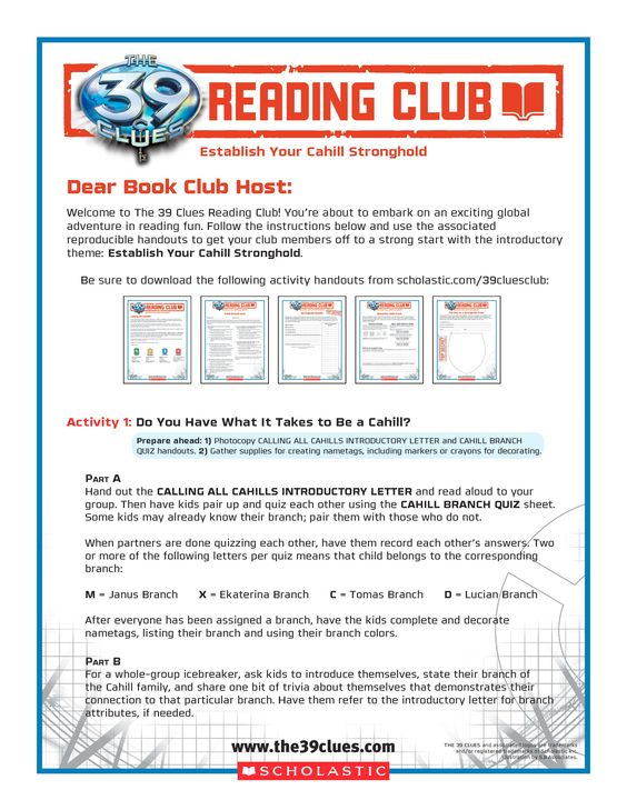 First The 39 Clues Reading Club meeting activitiesu2014ESTABLISH YOUR - introductory letter