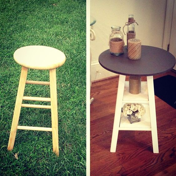 From a stool to an end table! My first big DIY project :)
