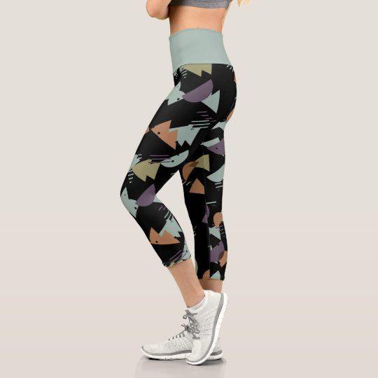 Abstract Circles and Squares Yoga Legging Capris