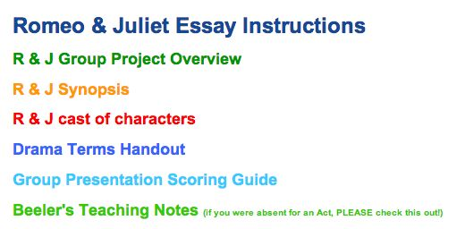 romeo and juliet thesis statment