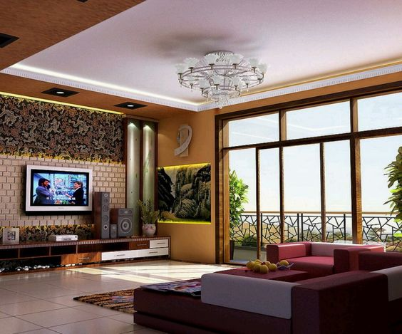 Rustic Modern Living Room Decoration With Beautiful Ceiling Lights ...
