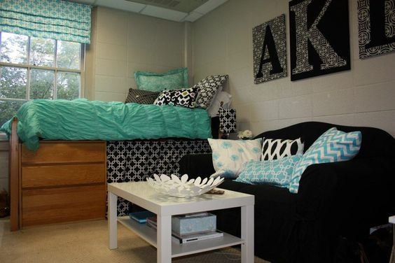 Teal, black and white single dorm room at Samford  ~ 152254_Dorm Room Ideas Teal