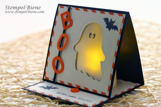 Wie ihr diese Stampin' Up! Lichterkarte nachbastelt, erfahrt ihr im Blog von Stempelbiene. #halloween