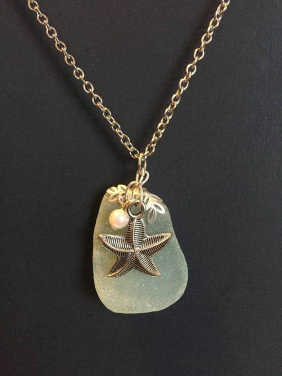 Light Green Seaglass Charm Necklace by DeafDeliaDesigns on Etsy
