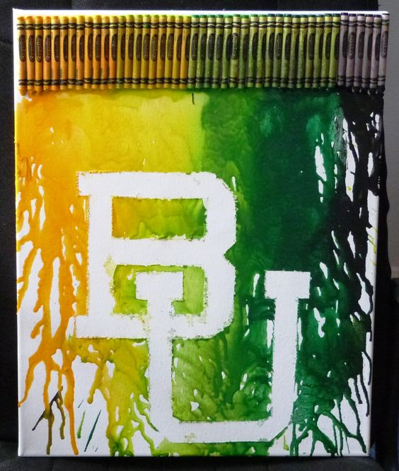 Super fun project! Cut your school's logo out of duct tape, stick to canvas, glue down crayons of school color, melt the crayons, & remove the tape! (you can touch up with white acrylic paint if wanted) This one shows Baylor!