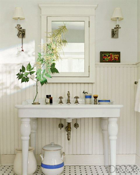 Sinks bathroom and wainscoting on pinterest for Elle decor bathrooms