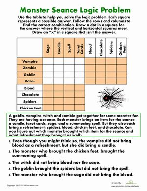 Printables Logic Worksheets haunted places logic problem what is this pictures and focus on halloween fourth grade puzzles sudoku worksheets monster seance problem