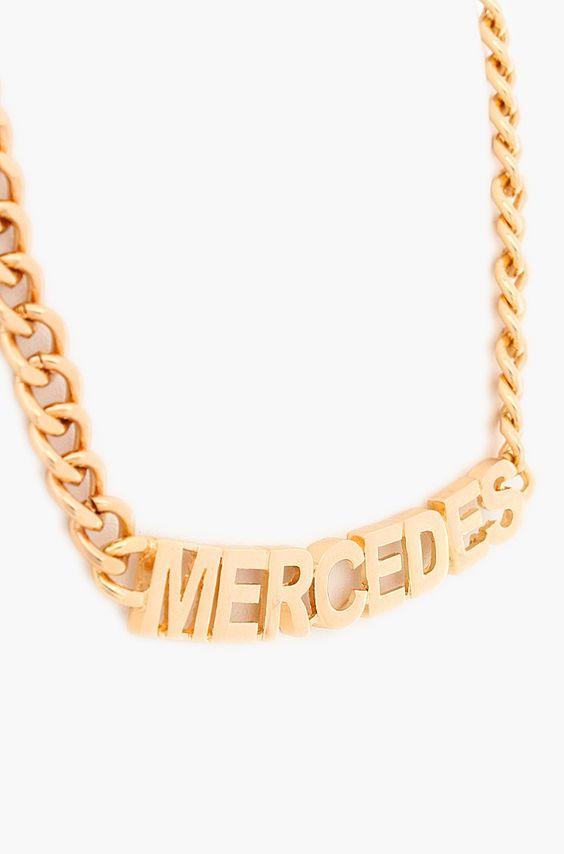 Urban Mercedes Letter Necklace - Gold
