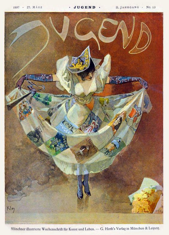 Jugend magazine 'Die Jugend breitet ihr Kleid aus' (Jugend extends her dress), cover by Heinrich Kley, March 27, 1897
