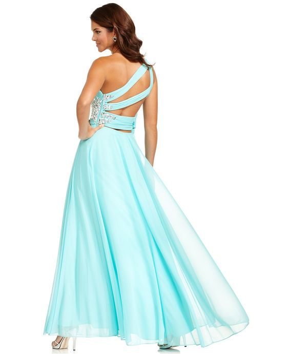 Xscape Dress- Sleeveless One-Shoulder Beaded Gown - Juniors Prom ...