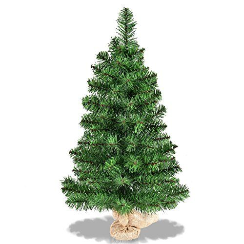 Goplus 3 Ft Christmas Tree Tabletop Artificial Pvc Green Spruce Tree In Burlap Base 36 Want Additi Unlit Christmas Trees Christmas Tree Small Christmas Trees