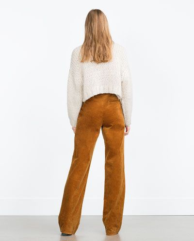 Image 2 of WIDE-LEG CORDUROY TROUSERS from Zara