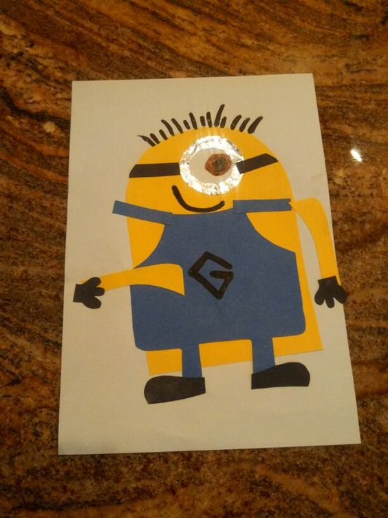 Construction paper minion! Cut out all the pieces in advance and let your child glue them on as they see fit!