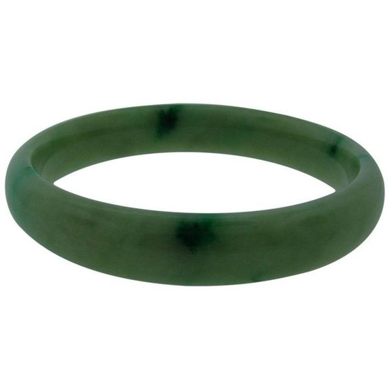Pre-owned Jade Bangle Bracelet ($1,260) ❤ liked on Polyvore featuring jewelry, bracelets, preowned jewelry, hinged bracelet, green bangle bracelet, jade jewellery and pre owned jewelry